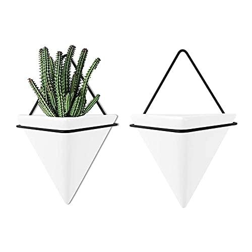 2PCS Jardineras Colgantes de Cerámica, Jardinera Triangular, Jardineras de Pared Geométricas,...