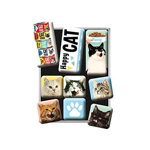 Nostalgic-Art Retro Kühlschrank-Magnete Happy Cats – Geschenk-Idee für Katzen-Besitzer, Magnetset für Magnettafel, Vintage Design, 9 Stück