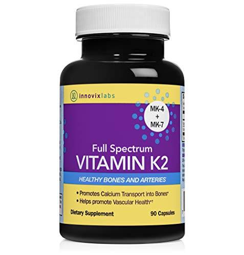 InnovixLabs Full Spectrum Vitamin K2 with MK-7 and MK-4, All-Trans Bioactive K2, 600 mcg K2 per Pill, Soy & Gluten Free, Non-GMO, 90 Capsules, Supports Healthy Bones & Arteries Vitamin K2 MK-7 + MK-4