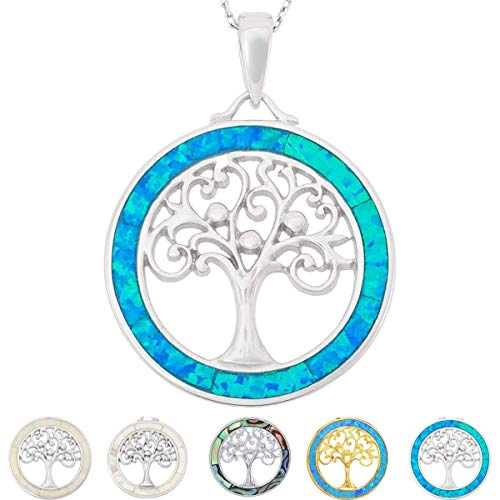 Tree of Life Necklace 925 Sterling Silver with Created Blue Opal Pendant Necklace for Women with 18' Sterling Silver Chain