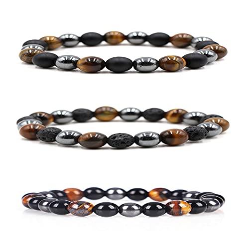 KFXD Lymph Drainage Tiger Eye Triple Bracelet, Bead Bracelet For Men Women Tiger Eye Stone Bracelet Natural Stone Bracelet Mala Agate Yoga Elatics Bracelet For Men 8MM 3pcs