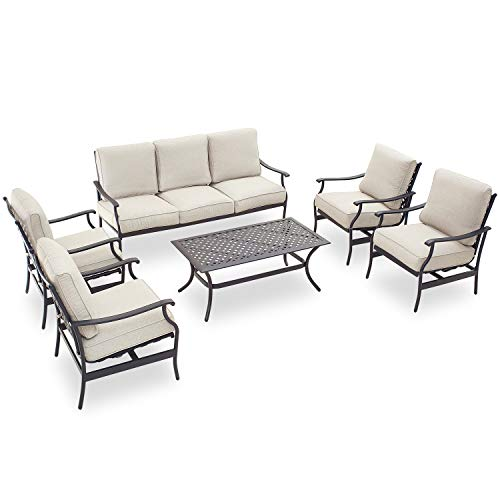 PatioFestival Patio Conversation Set Cushioned Outdoor Furniture Sets with All Weather Galvanized Steel Frame (6 Pcs, Beige)