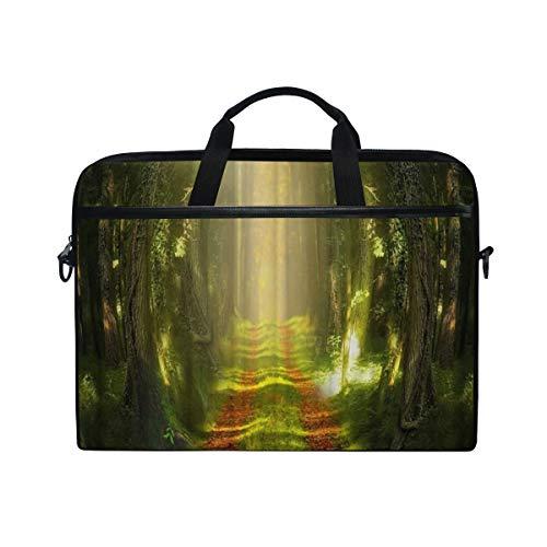 VICAFUCI New 15-15.4 Zoll Laptop Tasche,Umhängetasche,Handtasche,Fantasie Forest Green Tress Meadow Sunlight-rote gefallene Blätter auf der Alleen-Natur szenisch