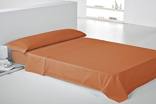 Play Basic Collection Lisa Juego de Sábana, Algodón-Poliéster, Naranja Caqui, 270x250x3 cm, 3 Unidades