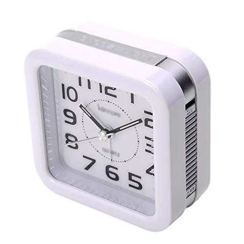 ZRJ Exquisito reloj despertador de noche con función de repetición, portátil, analógico, silencioso, caja de plástico para oficinas infantiles (color: plata)