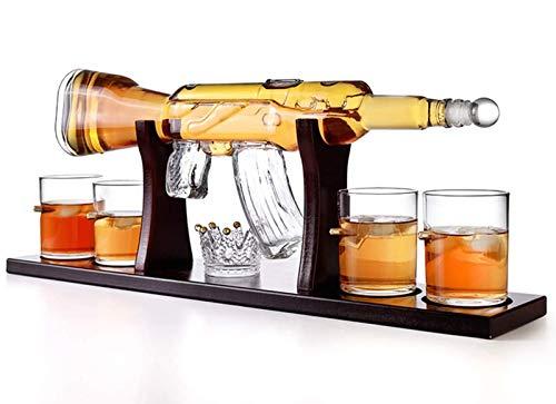 QSSQ M16 Pistola Grande Conjunto De La Jarra con 4 Bala Whisky Vidrios Y Caoba Base De Madera para El Licor, Whisky, Vodka Bourbon - Botella De Vino 800Ml