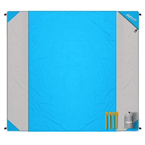 Beach Blanket, OUSPT Sand Free Picnic Outdoor Mat- Large 79'' x 83'' - Pocket Zippered Portable Waterproof Soft Fast Drying Nylon Oversize Blanket for 4-7 Persons Travel Camping Hiking (New-Blue)