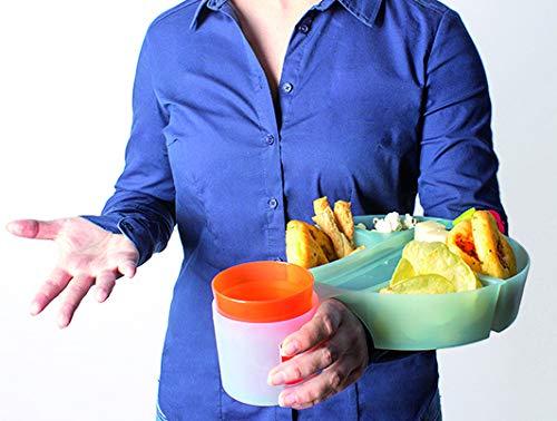 Tray - vassoio aperitivo, vassoio da letto, vassoio da portata - Confezione da 4 con porta bicchiere colori misti - prodotto in Moplen e lavabile in lavastoviglie - ideale per feste - Made in Italy