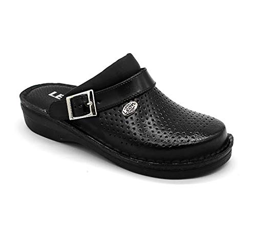 LEON V202M Zuecos Zapatillas Zapatos de Cuero Hombre, Negro, EU 43