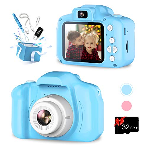 VINMEN Kids Camera, Upgrade Selfie Camera for Kids, Best Birthday Gifts for Boys Age 3-12, 1080P HD Digital Video Cameras for Toddler, Toys for 3 4 5 6 7 8 9 Year Old Boy with 32GB SD Card (Blue)