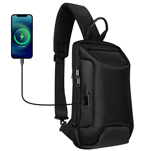 Sling Bag for Men, Anti-Theft Small Sling Backpack with USB Charging Port, Waterproof Casual Dayback for Outdoor Travel, Lightweight Crossbody Bag Fit for 9.7 inch ipad, Black