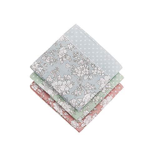 HOULIFE Damen Taschentücher aus reiner Baumwolle, 45 x 45 cm, Blumenmotiv, für den täglichen Gebrauch, 3-teiliges Set Gr. 45 * 45 cm, Mixte-3 Pièces