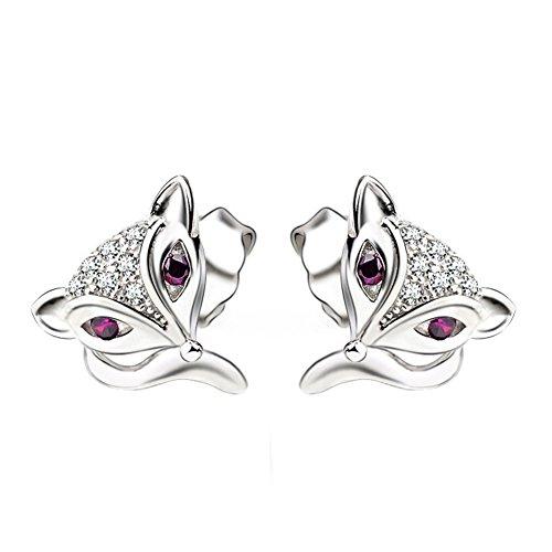 Pendientes de zorro de plata de ley 925 con ojos de cristal morado de Wristchie, para mujer