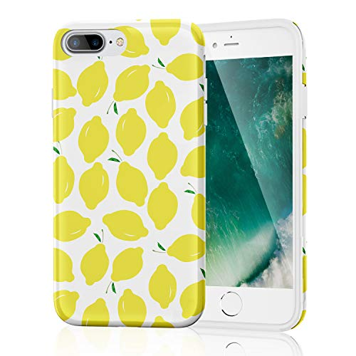 iPhone 8 Plus Case, iPhone 7 Plus Case for Girls Women Protective Bumper Slim Fit Cute Thin Soft Clear Silicone Rubber TPU Cover Phone Case for iPhone 7Plus/8Plus (Summer Lemons on White)