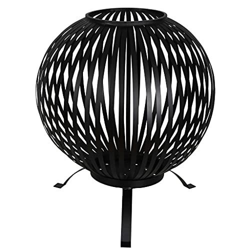 Famehours Esschert Design Feuerkorb Ball Gestreift Schwarz Kohlenstoffstahl FF400