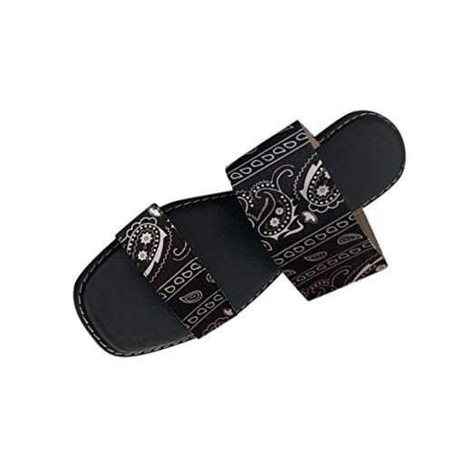 Fomino Sandalen Damen Sommer Hausschuhe Sommerschuhe Elegante Blume Stickerei Schuhe Elegante Flat Sandal Offene Strandschuhe Badeschlappen Pantoffeln Indoor Outdoor Freizeit Slipper