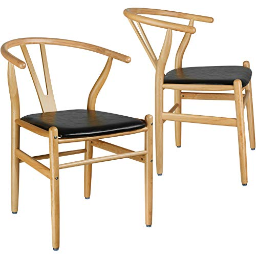 TecTake 800739 2er Set Designer Holzstuhl, mit geschwungener Rückenlehne, Sitzfläche in Lederoptik – Diverse Farben - (Natur | Nr. 403300)