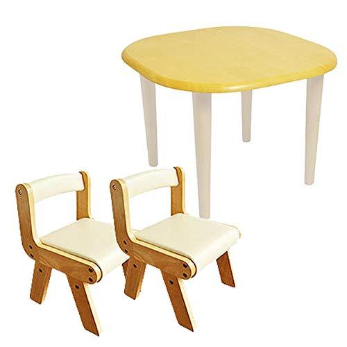 Kidzoo(キッズーシリーズ)キッズテーブル&肘なしチェア2脚 計3点セット (アイボリー)