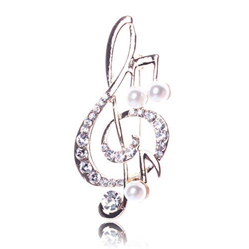 WANGJINQIAO Rhinestone Música Música Bufanda Bufanda Broche Rosa Oro Treble Clef Pin Jewelry Broche (Color : 1)