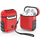 ORETech Airpods Case Cover, Heavy Duty Protective Hybrid Hard PC Silicone Cover Skin for Airpods 1/ Airpods 2 accessories -Red&Black