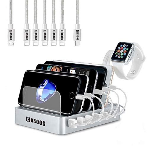 USB Charging Station for iPhone,COSOOS Charger Station with 5 lPhone Charger,1 Type-C,1 Micro Cable,iWatch Stand,6-Port Charging Station for Multiple Devices,iPad,Kindle(Silver White)