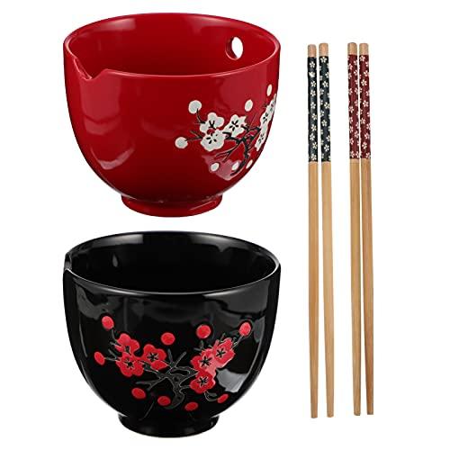 DOITOOL 1 juego de cuencos de cerámica de estilo japonés, cuenco de Ramen, cuencos de fideos y palillos, juego de cuencos para pasta