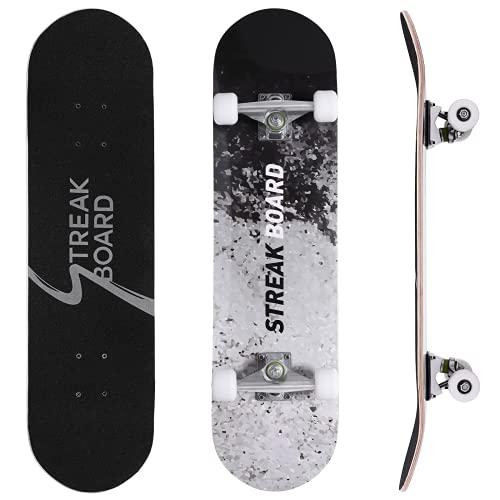 streakboard Skateboard, Cruiser Skateboard Erwachsene Kinder, Komplettboard mit ABEC-7 Kugellager und 7-lagigem kanadischem Ahornholz, 80 x 20 cm Fun Skateboard, Jugendliche