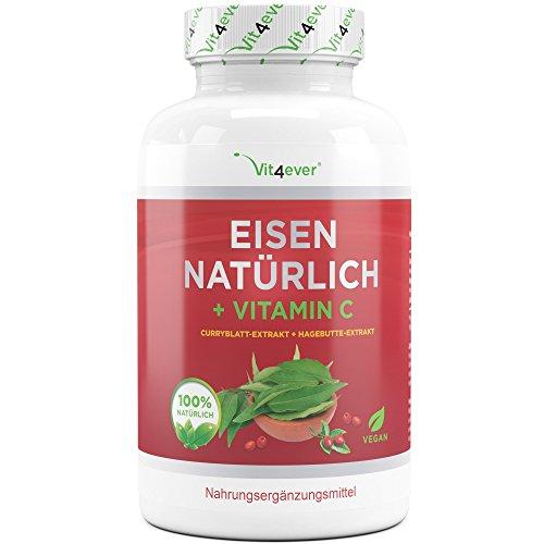 Vit4ever Eisen Natürlich + Vitamin C - 180 Kapseln - Curryblatt-Extrakt & Hagebutte-Extrakt - 28 mg...