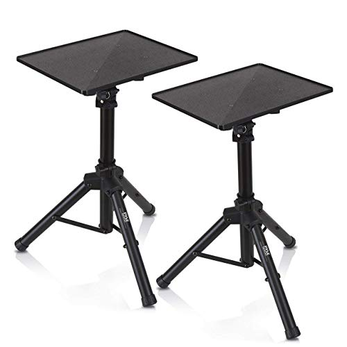 Laptop Projector Tripod Stand - 2 Pcs Computer, Book, DJ Equipment Holder Mount Height Adjustable Up to 52 Inches w/ 20'' x 16'' Plate Size - Perfect for Stage or Studio Use - Pyle PLPTS4X2