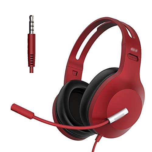 WCN Cascos Auriculares de Juego 3.5 Mm Auriculares con Cable con Cancelación de Ruido Mice Memoria de Memoria Soute Ormpufs Funciona en PC PS4 Laptop Auriculares (Color : Red)