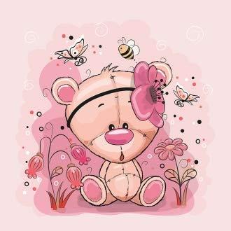 Herz Stoffe Österreich: 1 Sommersweat/French Terry Stoff Panel (40x50cm) Bär Bärchen auf rosa Blumen Schmetterlinge Biene Einzelmotiv Ökotex