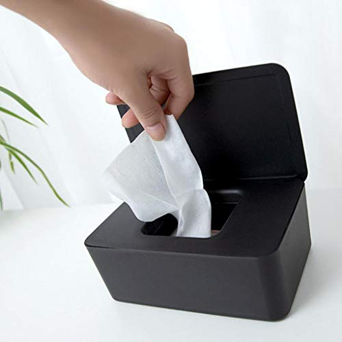 Flurries Facial Tissue Box Case with Lid - Wet Wipes Dispenser - Pull from Rectangular Paper Towel Container Holder - Dustproof Storage Organizer for Car Office Home Bathroom Kitchen Toilet (Black)