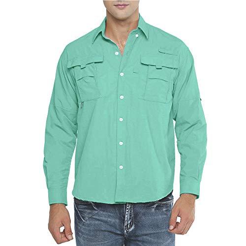 Jessie Kidden - Camisa de pesca de manga larga para hombre, con protección solar UPF 50+ UV al aire libre, secado rápido, ligera y refrescante, Hombre, color 1 #Verde, tamaño 3XL