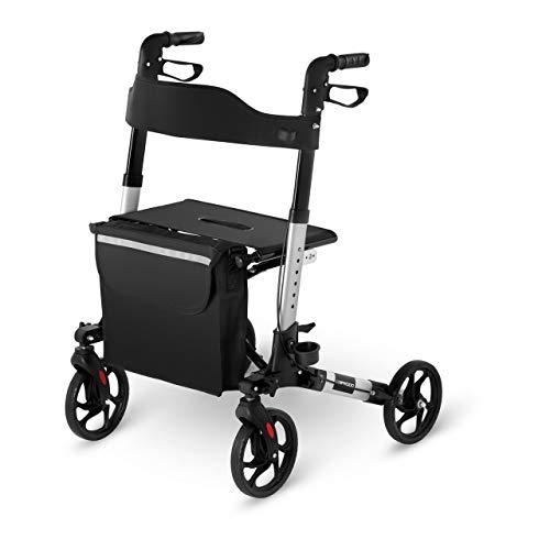 Uniprodo Deambulatore Rollator per Anziani UNI_ROLL_01 DF (Argento, 136 kg, Alluminio, Borsa per la Spesa, 4 Ruote)