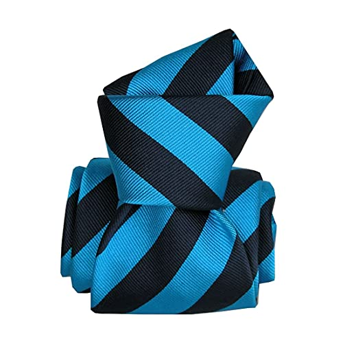 Segni et Disegni. Cravate artisanale. Confection main, Soie. Bleu, Club/rayé. Fabriqué en Italie.