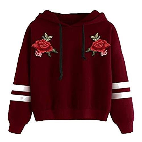 Suéter de manga larga con capucha para mujer Rojo rosso S