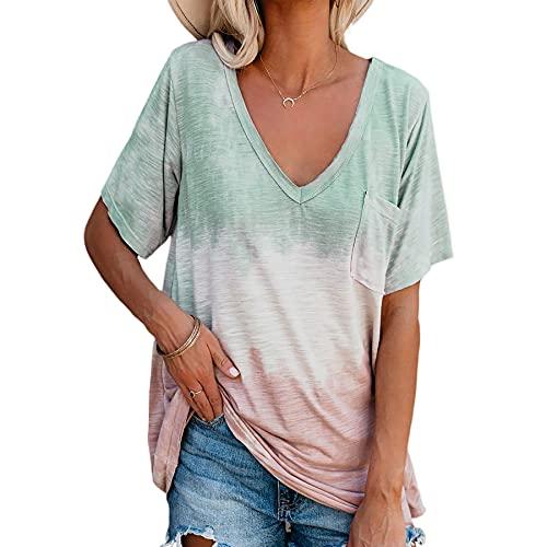 WXDSNH Camiseta Estampada Suelta De Manga Corta con Cuello En V para Mujer Ropa Casual De Verano Superior
