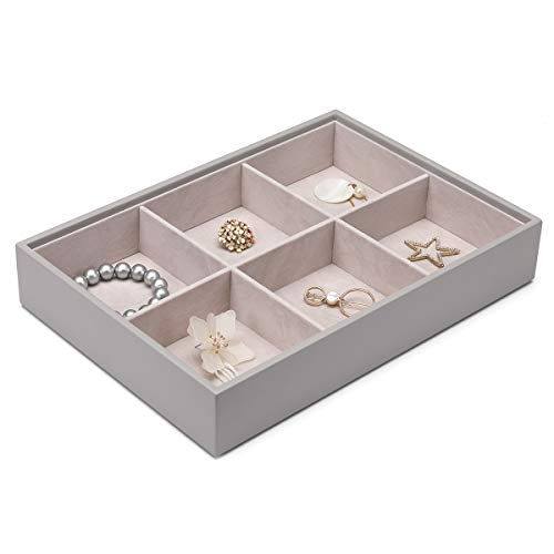 Vlando Miller Jewelry Tray-Six compartment,Multiple Color Combinations, Large Capacity Multi-Layer Design and Fashion(Grey)