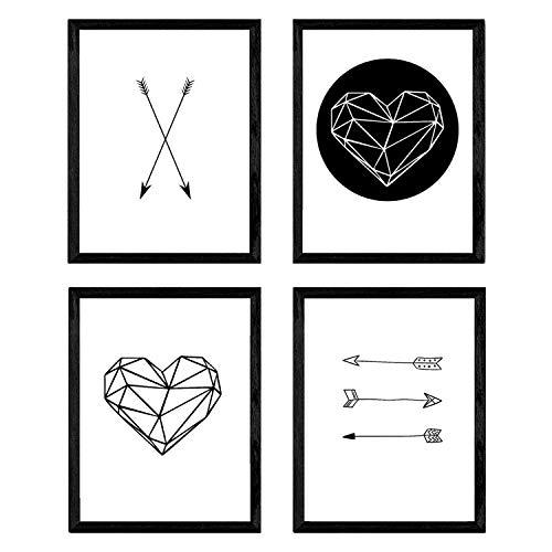 Nacnic Set di 4 Stampe artistiche, Tema frecce Geometriche e Cuore. Bianco & Nero. Stampe in Stile Nordico. Poster in Stile scandinavo.250 Grammi di Alta qualità.