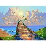 GGLLBL Rahmenlose Diamantmalerei 5D Diamantstickerei DIY Strass Diamant Mosaik Katze Klettertreppe Weg zum Himmel Kunst Wanddekoration Handgefertigt 50x70cm