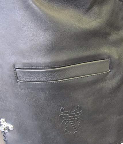 Skorpion Club 2 Biker, Club und Motorradfahrer Lederweste aus weichem Rinder Glattleder in schwarz, Gr.: XL