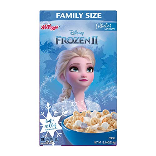 Kelloggs Disney Frozen 2 Elsa Vanilla with Marshmallows Breakfast Cereal Family Size 12.5 oz