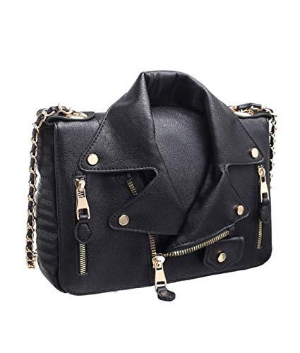 Paula Rossi bolso BANDOLERA mujer antirrobo chaqueta casual negro baratos barata elegante grande original polipiel seguro tachuelas vintage (negro)