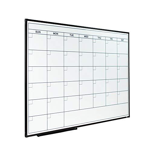 Lockways Dry Erase Calendar Whiteboard, Framed Magnetic Whiteboard Calendar 36 x 24 Inch, Ultra-Slim Black Aluminium Frame
