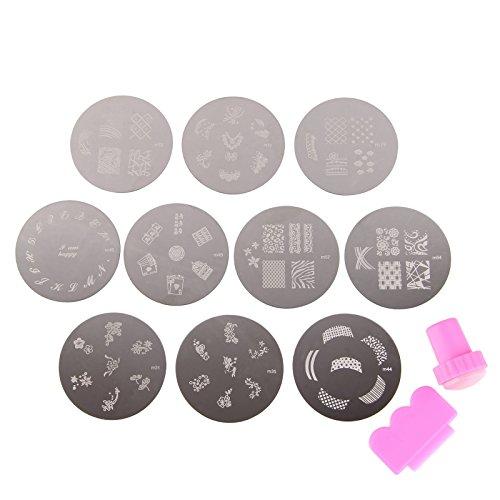 Beauty7 Estampación de Uñas Placas 10 pcs de Metal del Arte del Clavo que Estampa Plantillas para Uñas Estampado Plantilla 70 Diseños Mixtos con Sello & Rascador