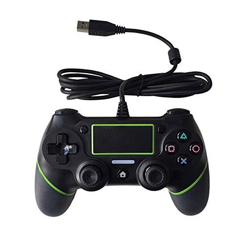 Aiyoudemutou Gamepad Controlador con Cable Game Assist Controlador Controlador de Juegos de Ordenador Joystick con vibración Doble Controlador Gamepad (Color : Green)