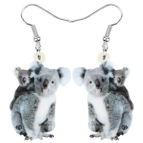 NOBRAND Pendientes De Mujer Acrílico Koala Mamá Bebé Pendientes Animal Drop Dangle Jewelry