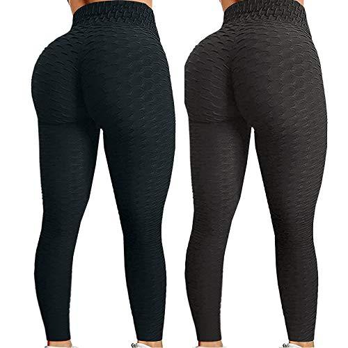 Pack 2 Push Up Leggings para Mujer, Cintura Alta Mujer Malla Celular Pantalón de Yoga Leggings, Butt Lifter Anti-Cellulite Deportivos Yogapants para Yoga Pilates Fitness