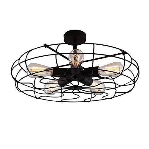 EASTYY 5 Luces Retro Industrial Power Fan LED Araña Celling Fan Light Vintage Semi Flush Mount Chandelier Loft Industria Lámpara Colgante Restaurante Forjado Lámpara De Cocina Sombras E27 Accesorio