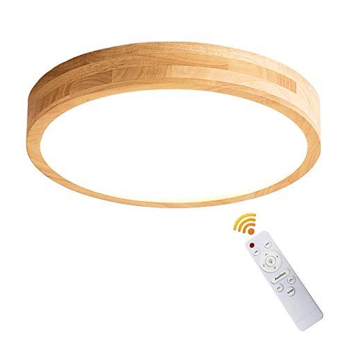 VOMI Plafón de Techo Madera 18W Lámpara de Madera Moderna Lámpara de...